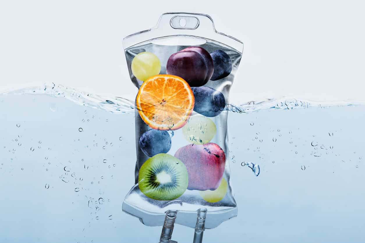 IV bag floating in the water filled with fruits